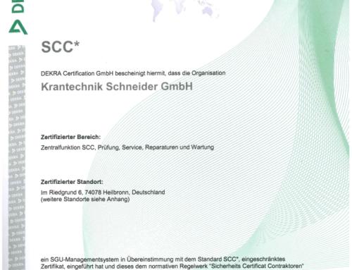 SCC-Zertifizierung erfolgreich bestanden